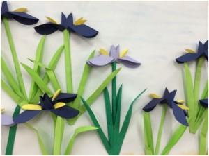 Origami irises (flowers)