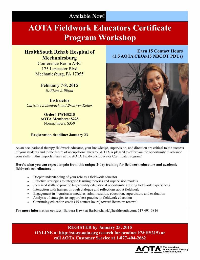 Flyer for AOTA Clinical Educators' Certificate Workshop