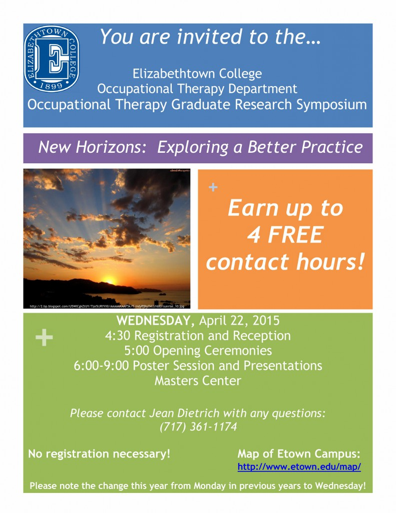 Page One of Graduate research symposium flyer. April 22, 2015, 5-9 PM