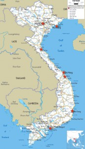 Map of Vietnam with red stars to pinpoint places we visited