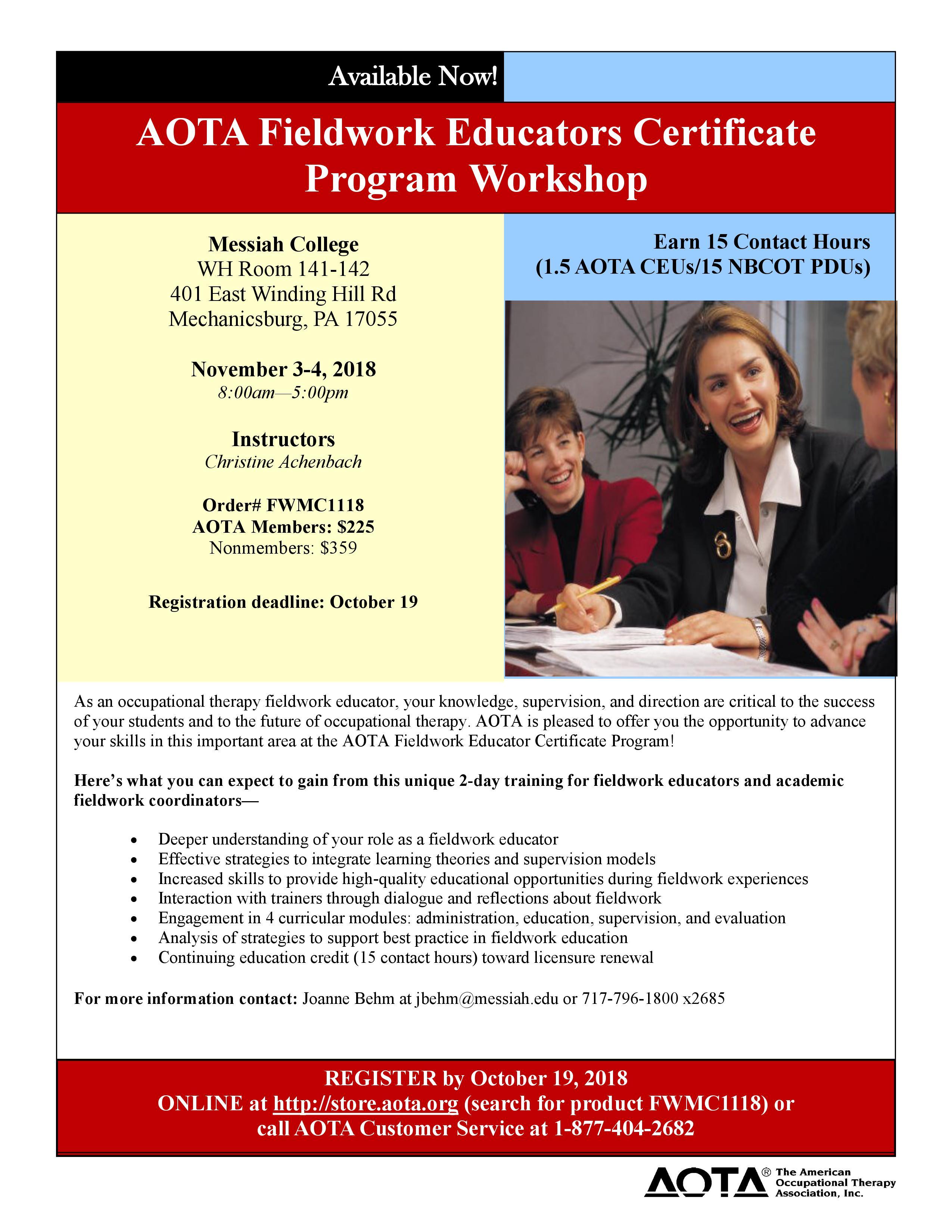 Flyer for Fieldwork Educator Certificate Program in November 2018